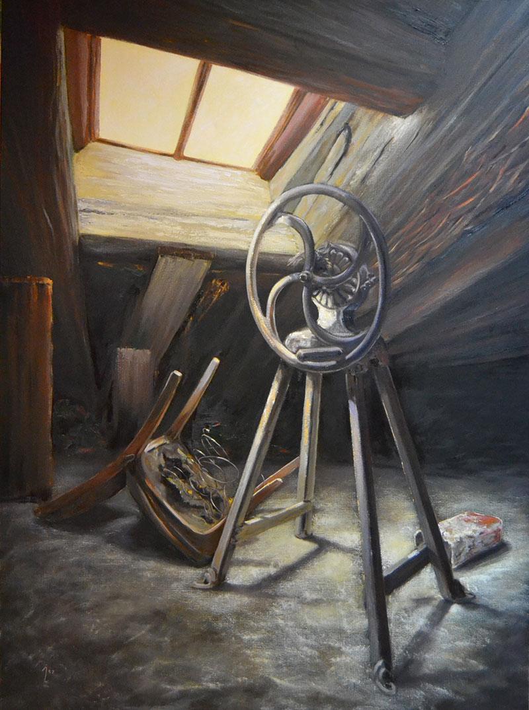 """Charla de viejos amigos"", óleo sobre lienzo 130x100"
