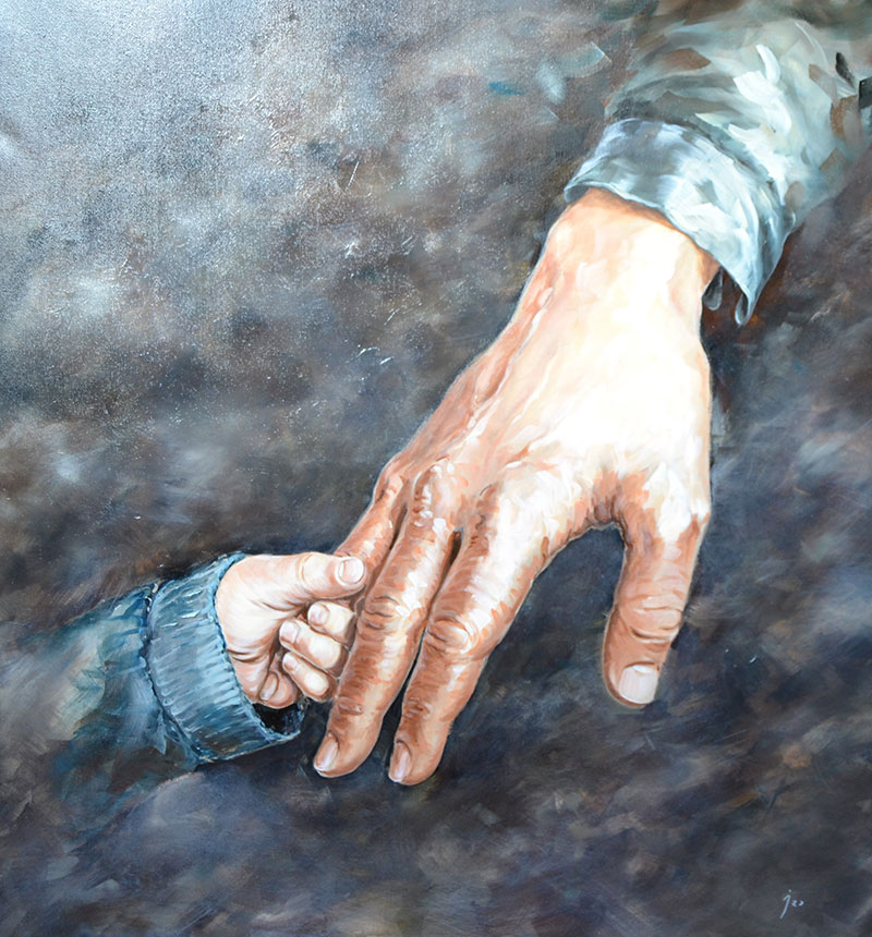 """De la mano"", óleo sobre lienzo 100x100"