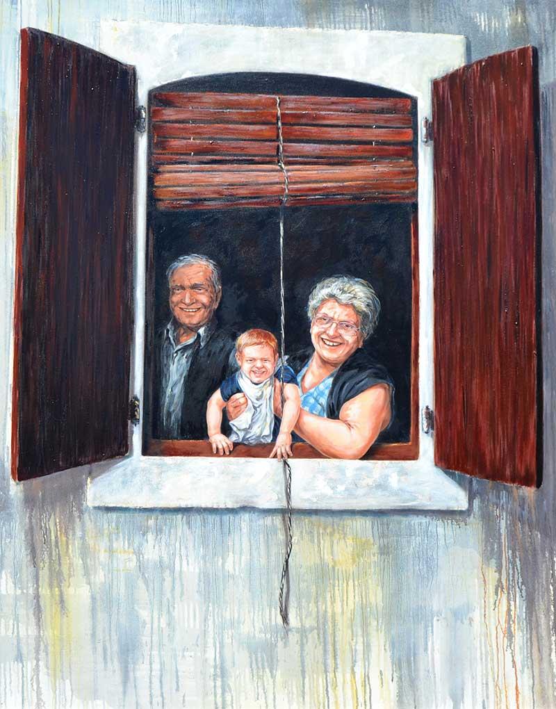 """""""En buenas manos"""", óleo sobre lienzo 150x120"""