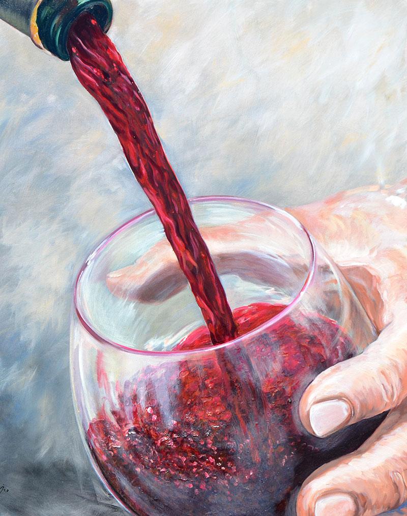 """""""Escanciando el vino"""", óleo sobre lienzo 100x80"""