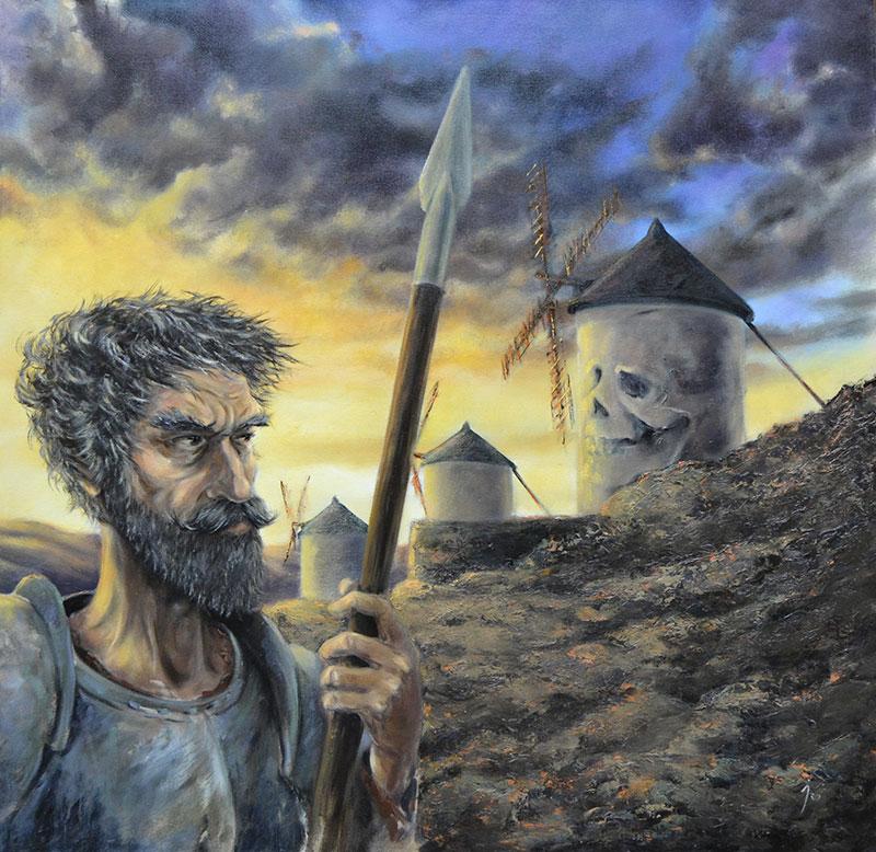 """""""La duda del Quijote"""", óleo sobre lienzo 80x80"""