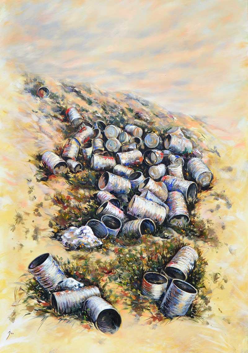 """""""Montón de botes"""", óleo sobre lienzo 140x100"""