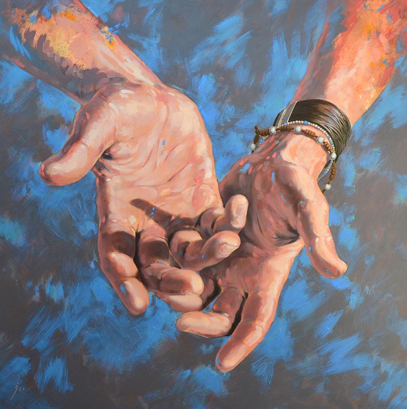 """""""Autorretrato"""", tinta y óleo sobre lienzo 100x100"""
