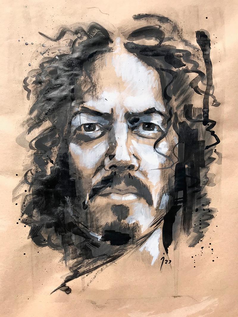 """Pedro"", óleo y tinta sobre lienzo 60x50"