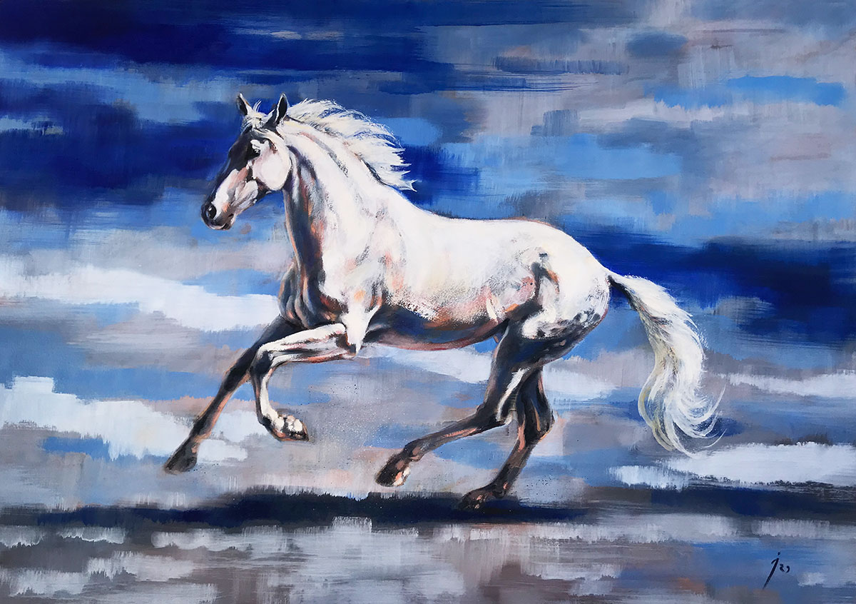 """Libertad"", óleo sobre tabla 80x 115 cm."